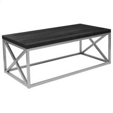 Black Coffee Table with Silver Finish Frame
