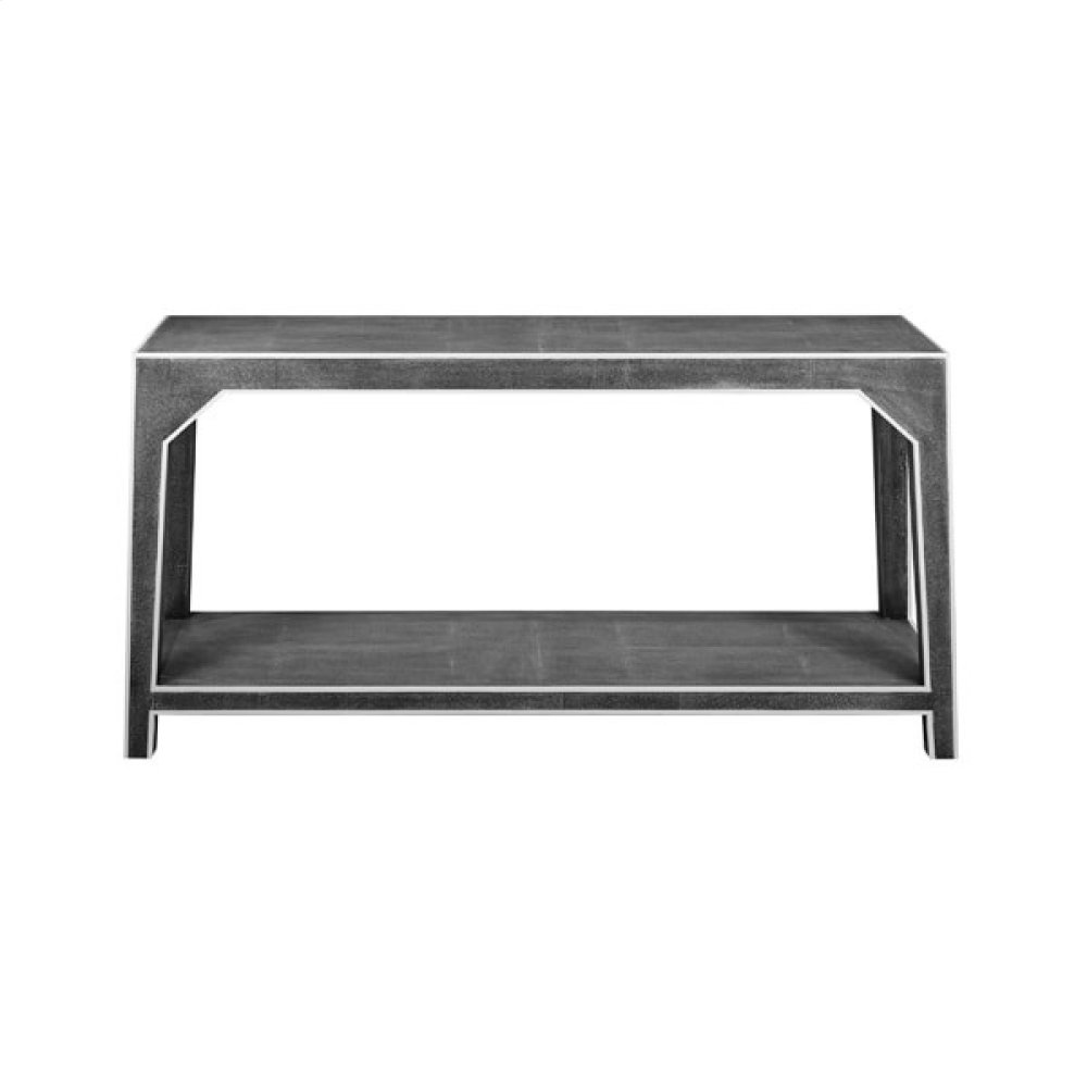 Two Tier Faux Dark Grey Shagreen Console With White Resin Edging