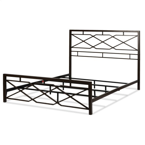 Alpine Metal SNAP Bed with Folding Frame Bedding Support System and Geometric Panel Design, Rustic Pewter Finish, King