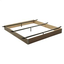 """Pedestal Q20 Bed Base with 10"""" Walnut Laminate Wood Frame and Center Cross Slat Support, Queen"""
