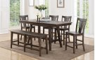 """78"""" Tall Table w/ 12"""" Leaf w/ 4 Chairs (shown bench optional) Product Image"""
