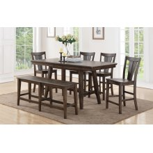 """78"""" Tall Table w/ 12"""" Leaf w/ 4 Chairs (shown bench optional)"""