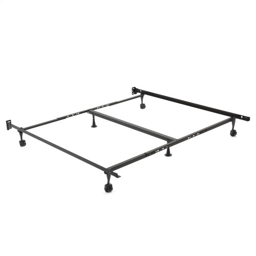 Restmore Adjustable Center Support Bed Frame K45R with Fixed Headboard Brackets and Glide Rug Roller Leg Combo, Queen - King