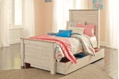 Willowton - White Wash 5 Piece Bed Set (Twin)