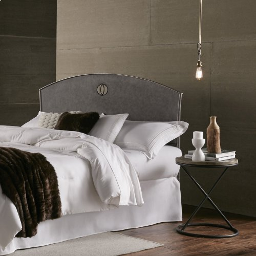 Barrington Metal Headboard with Industrial Circular Design, Silver Bisque Finish, Queen