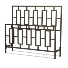 Miami Metal Headboard and Footboard Bed Panels with Geometric Designed Grills and Squared Tubing, Coffee Finish, King
