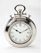 This steel and aluminum wall clock's design is reminiscent of a traditional pocket watch. The Roman numeral numbers are easily legible from any distance. This piece may be transitional, but its traditional design blends well with any number of decors. Product Image
