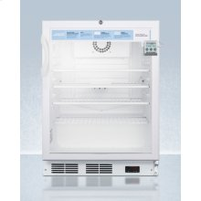 """ADA Compliant 24"""" Wide Glass Door Refrigerator for Freestanding Use, Auto Defrost With A Lock, Nist Calibrated Thermometer, Digital Thermostat, and Internal Fan"""