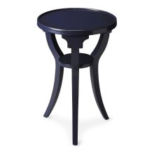 Navy was never this cool than on this classic accent table. Crafted from select hardwood solids and wood products, it boasts a laid-back navy finish over birch veneers. Its splayed legs give this table a modern flair with a convenient storage shelf down b
