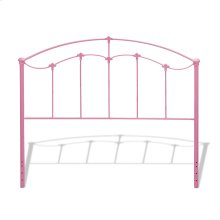 Amberley Kids Metal Headboard Panel with Elegant Curves and Floral Medallions Accents, Pastel Pink Finish, Full