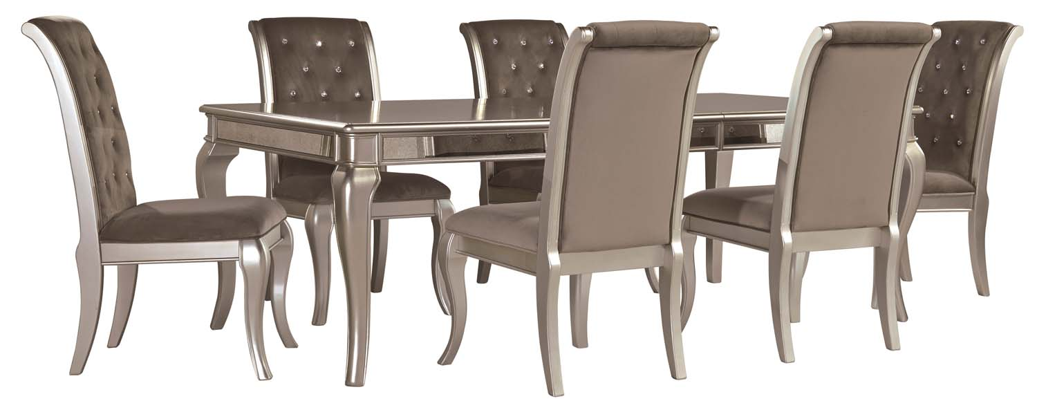 7 piece dining room set glass birlanny silver piece dining room set d720d4 in by ashley furniture oregon city or
