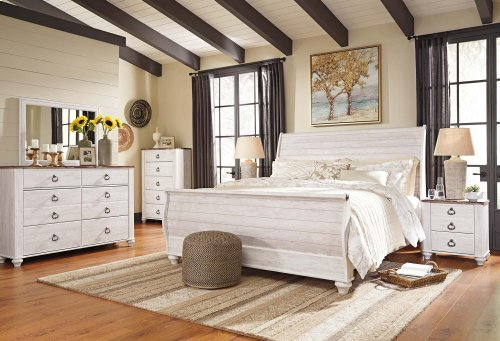 Willowton - Whitewash 2 Piece Bedroom Set