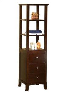 Transitional Linen Cabinet Storage Tower in Vintage Walnut