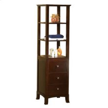 Transitional Linen Cabinet Storage Tower in Vintage Walnut