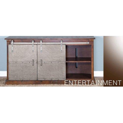 """65"""" TV Console w/ Metal Barn Door"""