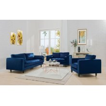 NAVY LOVESEAT W/2 PILLOWS