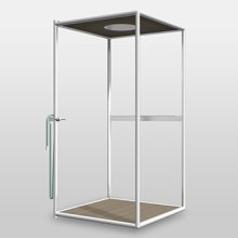 Outodoor shower cabin with open frame made of white tubular metal footboard in WPC. Stainless steel rainshowerhead ø 400 mm white colour. Single lever Joystick mixer with 35 mm cartridge. Elastomer footwasher hose operated by diverter. 1 shelf white colour. Adjustable feet floor mounted fixing.