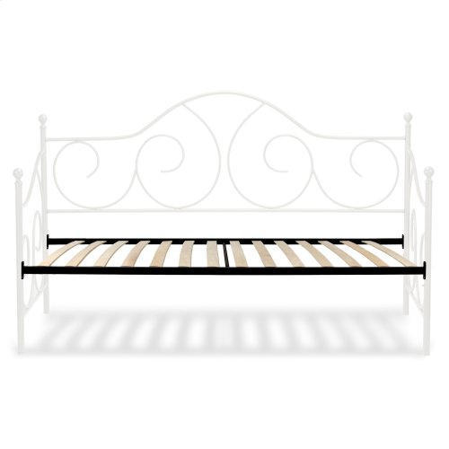 Caroline Complete Metal Daybed with Sloping Back Panel and Euro Top Deck, Antique White Finish, Twin
