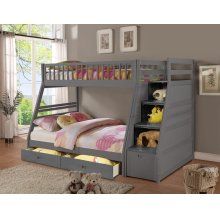 Merlin Gray Twin over Full Staircase Bunkbed with 2 Storage Drawers