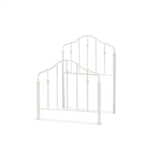Lorna Kids Bed with Metal Duo Panels and Accented Spindles, Warm White Finish, Full