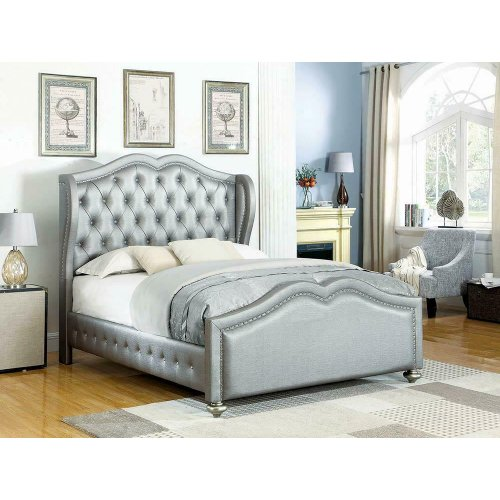 Belmont Grey Upholstered King Bed