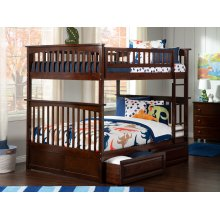 Columbia Bunk Bed Full over Full with Raised Panel Bed Drawers in Walnut