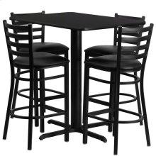 24''W x 42''L Rectangular Black Laminate Table Set with 4 Ladder Back Metal Barstools - Black Vinyl Seat