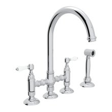 Polished Chrome Italian Kitchen San Julio Deck Mount C-Spout 3 Leg Bridge Kitchen Faucet With Sidespray with Porcelain Lever