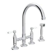 Polished Chrome Italian Kitchen San Julio Deck Mount C-Spout 3 Leg Bridge Kitchen Faucet With Sidespray with Porcelain Lever