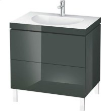 Furniture Washbasin C-bonded With Vanity Floorstanding, Dolomiti Gray High Gloss Lacquer