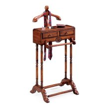This elegant valet is a must for anyone with a flair for fashion. Hand crafted from solid hardwood, it features a scuptured wood hanger, ideal for a jacket, shirt or blouse; pants hanger, two drawers with antique brass finsihed hardware; and a top storage