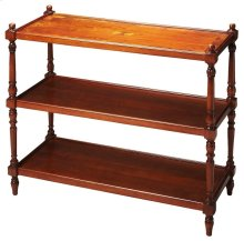 This elegant tiered console table will be an alluring addition to virtually any space. Carefully crafted from poplar hardwood solids and wood products, it will display photos, collectibles, china or other cherished items. It features a cherry veneer top w