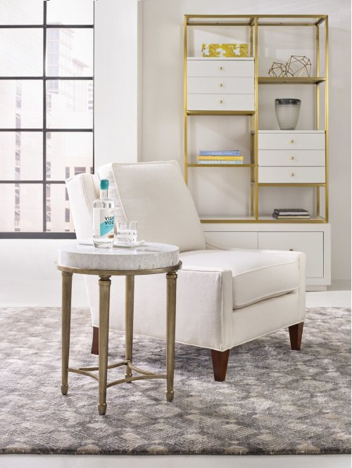 Living Room Aura Round Accent Table w/ Shell Top
