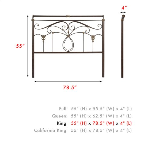 Lucinda Metal Headboard Panel with Intricate Scrollwork and Sleigh-Styled Top Rail, Marbled Russet Finish, King
