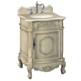 25 in. W Petite Single Vanity with Cream Marble Top in Antique Parchment