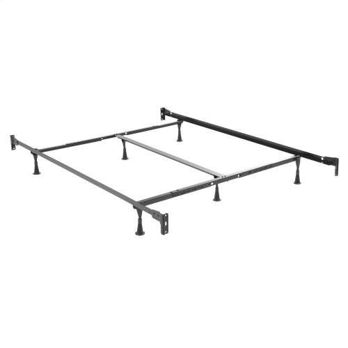 Deland Complete Metal Bed and Steel Support Frame with Arched Rails and Finial Posts, Brown Sparkle Finish, Queen