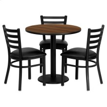 30'' Round Walnut Laminate Table Set with 3 Ladder Back Metal Chairs - Black Vinyl Seat