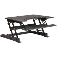 28.25''W Black Sit / Stand Height Adjustable Desk with Height Lock Feature and Keyboard Tray