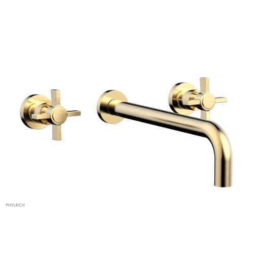 """Basic Wall Tub Set 12"""" Spout - Blade Cross Handles D1137-12 - Satin Brass"""