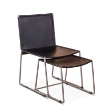 Winston Black Leather Chair with Foot Stool