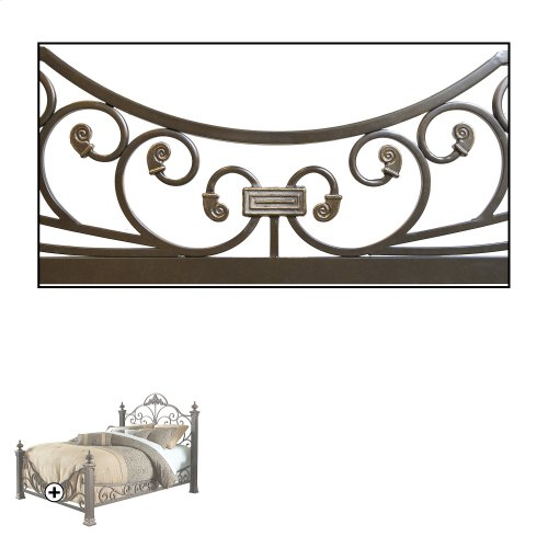 Baroque Complete Bed with Massive Cast Metal Grills and Decorated Sloping Side Rails, Gilden Slate Finish, California King
