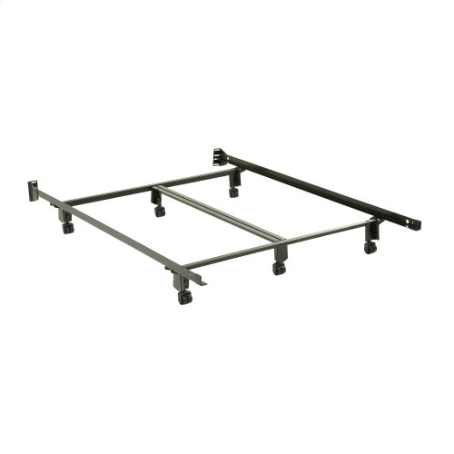Inst-A-Matic Premium Bed Frame 761R with Headboard Brackets and (6) 2-Inch Locking Rug Roller Legs, Black Finish, Queen
