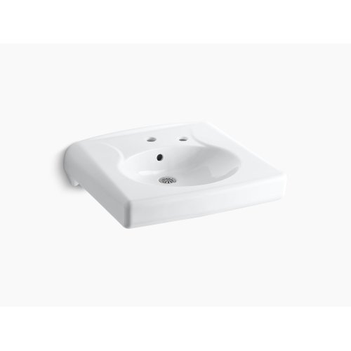 White Wall-mounted or Concealed Carrier Arm Mounted Commercial Bathroom Sink With Single Faucet Hole and Right-hand Soap Dispenser Hole, Antimicrobial Finish