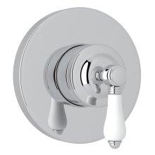 Polished Chrome Italian Bath 4-Port, 3-Way Diverter Trim with White Porcelain Lever