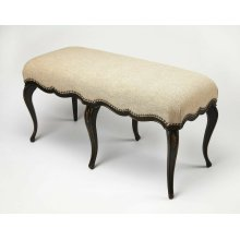 A beautiful addition in the bedroom, hallway or entryway, there's not a straight line found on this elegant hand painted bench. Expertly crafted from rubberwood solids, it boasts a black hand painted base with gold hand painted trim and carved flourishes