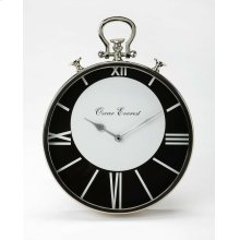 This stainless steel and aluminum wall clock's design is reminiscent of a traditional pocket watch. Only four of the Roman numeral numbers are displayed, but that takes nothing away from this clock's beauty. The white numbers still stand out on the black