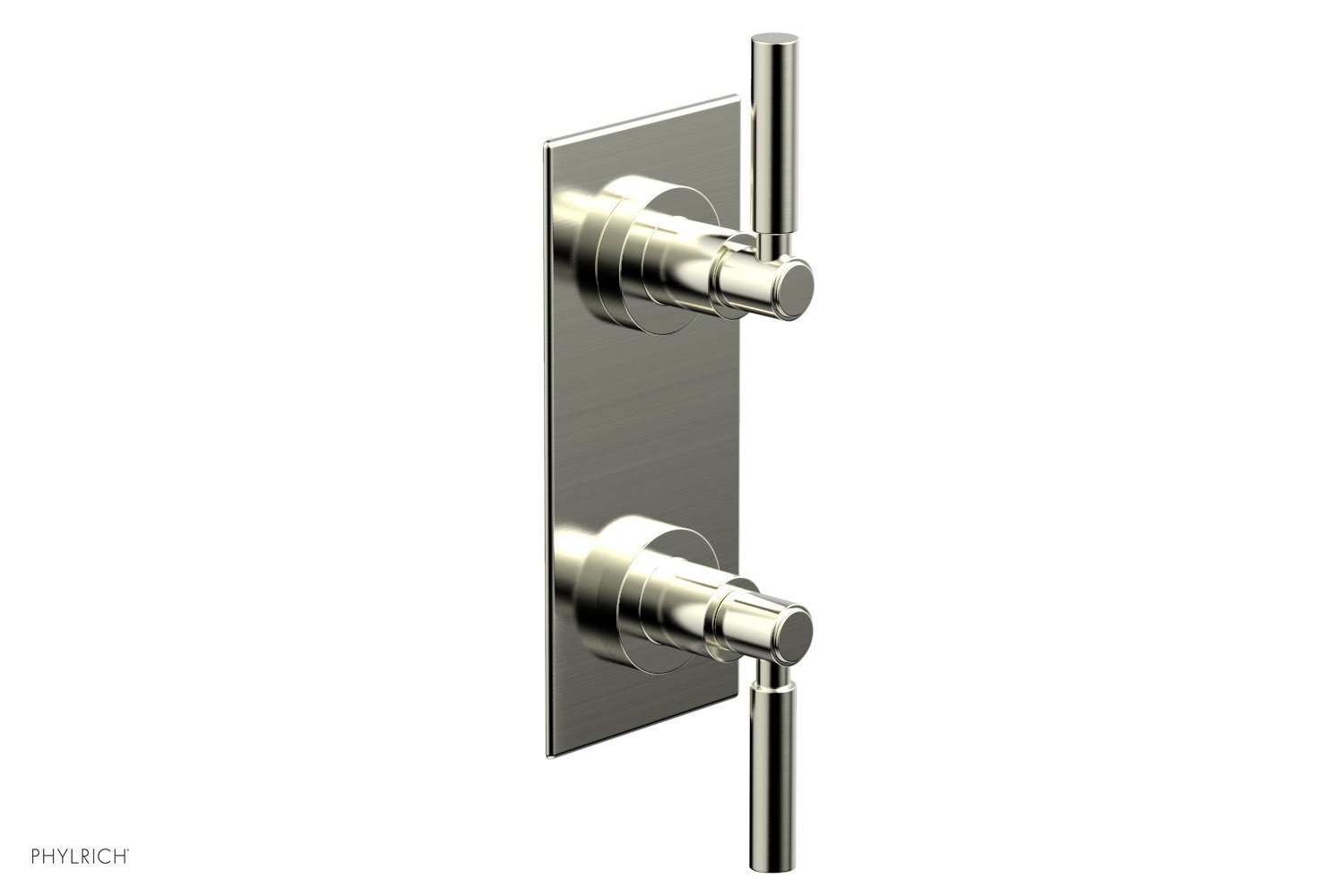 """BASIC 1/2"""" Thermostatic Valve with Volume Control or Diverter Lever Handles 4-344 - Satin Nickel"""