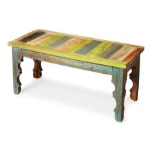 Crafted from recycled wood solids, this Bench is an irresistible combinatinon of rustic charm, dramatically carved legs and colorful hand painting, ensuring this piece stands out as a one-of-a-kind original.