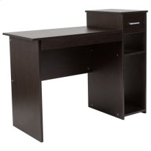 Espresso Wood Grain Finish Computer Desk with Shelves and Drawer