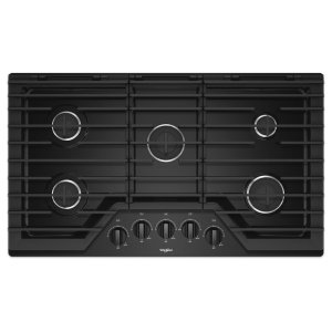 36-inch Gas Cooktop with EZ-2-Lift Hinged Cast-Iron Grates - BLACK